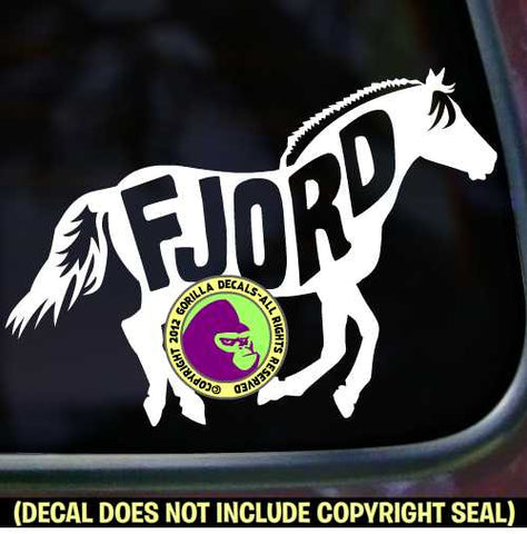 FJORD HORSE Word Inside Vinyl Decal Sticker