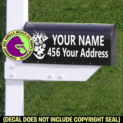 Gardener Plants MAILBOX Set - ADD YOUR NAME & ADDRESS Vinyl Decal Sticker