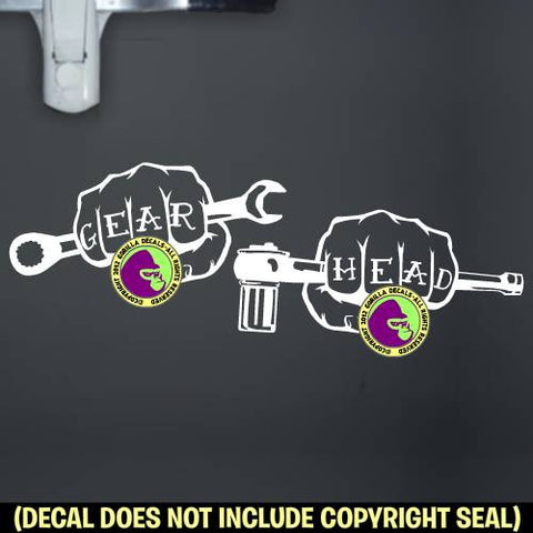 GEAR HEAD Fists Mechanic Vinyl Decal Sticker