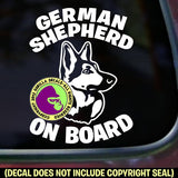 GERMAN SHEPHERD - On Board - Dog Vinyl Decal Sticker