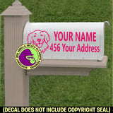 GOLDEN RETRIEVER -  Dog MAILBOX Set - ADD YOUR NAME & ADDRESS Vinyl Decal Sticker