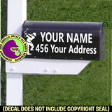 Golfer Male MAILBOX Set - ADD YOUR NAME & ADDRESS Vinyl Decal Sticker