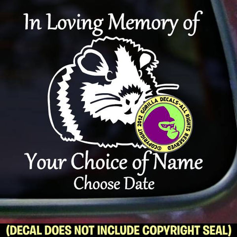 GUINEA PIG Memorial  - ADD YOUR CUSTOM WORDS - Vinyl Decal Sticker
