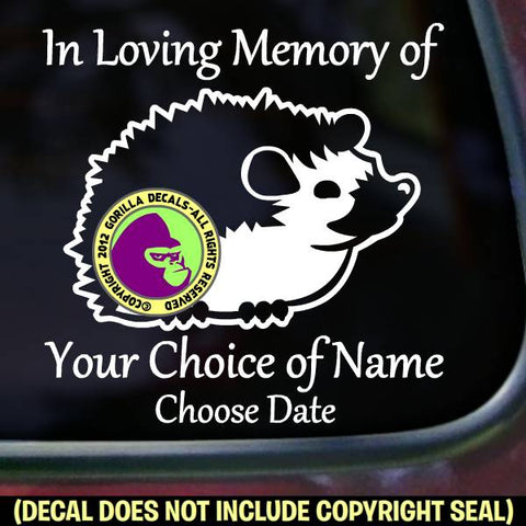 HEDGEHOG Memorial  - ADD YOUR CUSTOM WORDS - Vinyl Decal Sticker