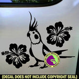 HIBISCUS Cockatiel Vinyl Decal Sticker