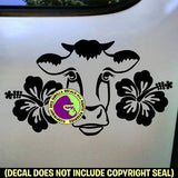 HIBISCUS COW Vinyl Decal Sticker