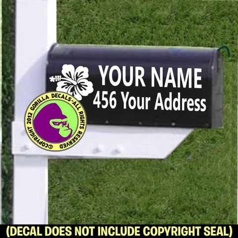 HIBISCUS MAILBOX Set - ADD YOUR NAME & ADDRESS Vinyl Decal Sticker