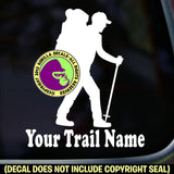 HIKER - CUSTOM TRAIL NAME Vinyl Decal Sticker