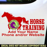 HORSE TRAINING - Add your phone number - Vinyl Decal Sticker