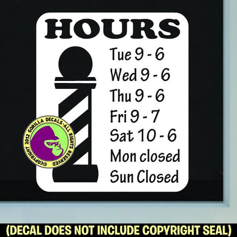 BARBER SHOP HOURS - Custom Text - Vinyl Decal Sticker