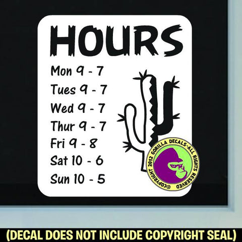 CACTUS SOUTHWEST HOURS - Custom Text - Vinyl Decal Sticker