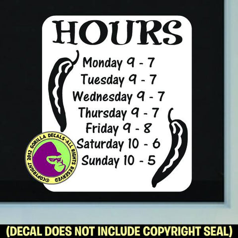 MEXICAN RESTAURANT SOUTHWEST HOURS - Custom Text - Vinyl Decal Sticker