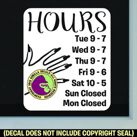 NAIL SALON HOURS - Custom Text - Vinyl Decal Sticker