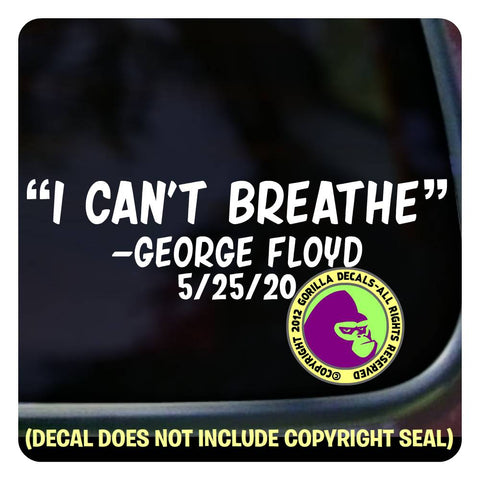 """I can't breathe"" George Floyd Vinyl Decal Sticker"