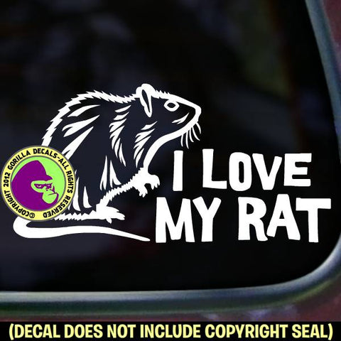 I LOVE MY RAT Pet Rats Vinyl Decal Sticker