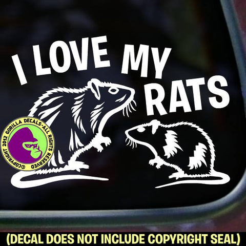 I LOVE MY RATS Group Pet Rats Vinyl Decal Sticker