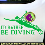 I'D RATHER BE DIVING Male Springboard Diver Vinyl Decal Sticker