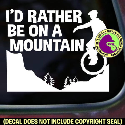 RATHER BE ON A MOUNTAIN Unicycle Unicycling Vinyl Decal Sticker