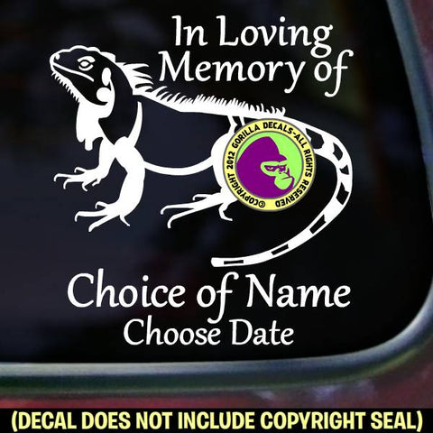 IGUANA MEMORIAL - Add your Custom Words - Vinyl Decal Sticker
