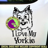 YORKIE Yorkshire Terrier - I Love My Yorkie - Dog Vinyl Decal Sticker