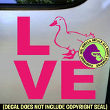 LOVE Word DUCK Pet Vinyl Decal Sticker