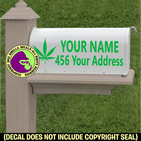 MARIJUANA MAILBOX Set - ADD YOUR NAME & ADDRESS Vinyl Decal Sticker