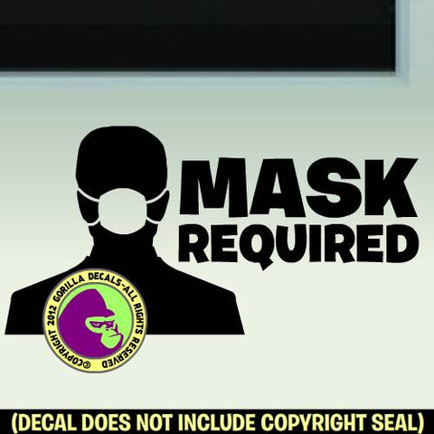 MASKS REQUIRED Medical Covid-19 Coronavirus Retail Vinyl Decal Sticker