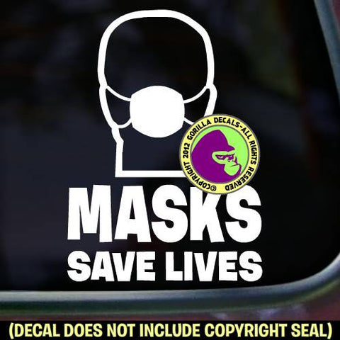 MASKS SAVE LIVES Mask Virus Protection Covid-19 Coronavirus Vinyl Decal Sticker