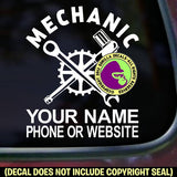 MECHANIC - Add your phone number - Vinyl Decal Sticker