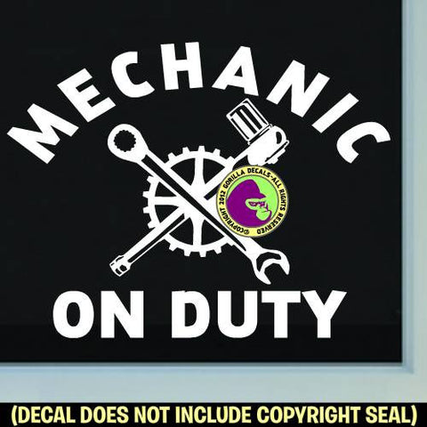 MECHANIC ON DUTY Shop Sign Vinyl Decal Sticker