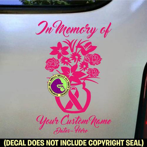 Memorial BREAST CANCER - Bouquet Flowers ADD CUSTOM WORDS Vinyl Decal Sticker