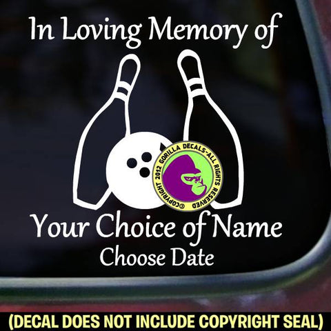 MEMORIAL Bowling Ball ADD CUSTOM WORDS Vinyl Decal Sticker