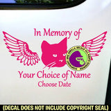MEMORIAL Cat with Wings ADD CUSTOM WORDS Vinyl Decal Sticker