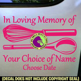 MEMORIAL Chef Cook ADD CUSTOM WORDS Vinyl Decal Sticker