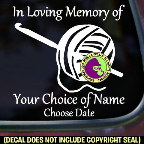 MEMORIAL Crochet ADD CUSTOM WORDS Vinyl Decal Sticker