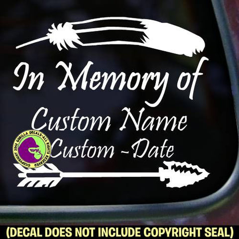 Memorial NATIVE AMERICAN - ADD YOUR CUSTOM WORDS Vinyl Decal Sticker