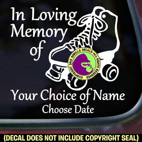 MEMORIAL Roller Skating Skater ADD CUSTOM WORDS Vinyl Decal Sticker