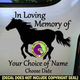 MEMORIAL Running Horse ADD CUSTOM WORDS Vinyl Decal Sticker