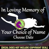 MEMORIAL Scuba Diver ADD CUSTOM WORDS Vinyl Decal Sticker