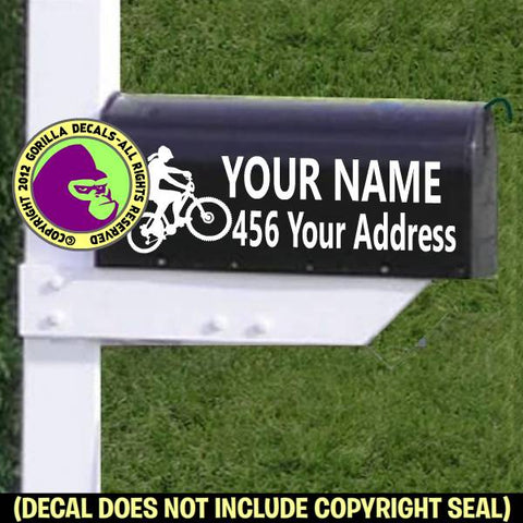 MOUNTAIN BIKER Female MAILBOX Set - ADD YOUR NAME & ADDRESS Vinyl Decal Sticker