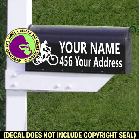 MOUNTAIN BIKER Male MAILBOX Set - ADD YOUR NAME & ADDRESS Vinyl Decal Sticker