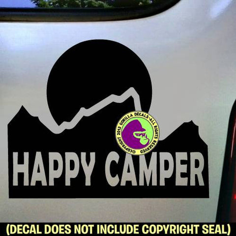 Mountain HAPPY CAMPER Vinyl Decal Sticker