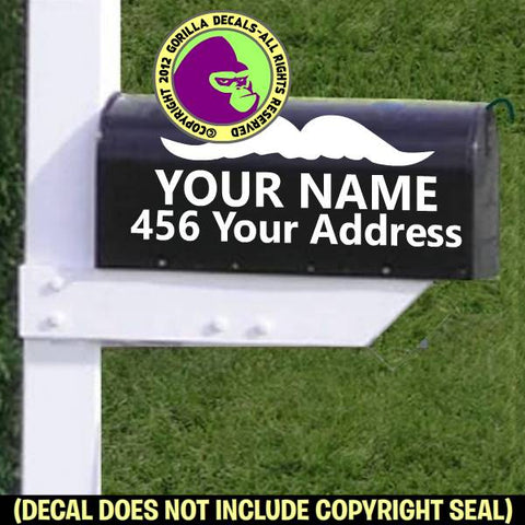 Mustache MAILBOX Set - ADD YOUR NAME & ADDRESS Vinyl Decal Sticker