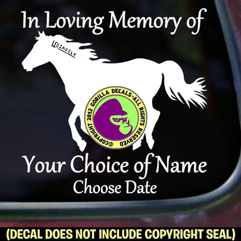 MUSTANG Horse Memorial  - ADD YOUR CUSTOM WORDS - Vinyl Decal Sticker