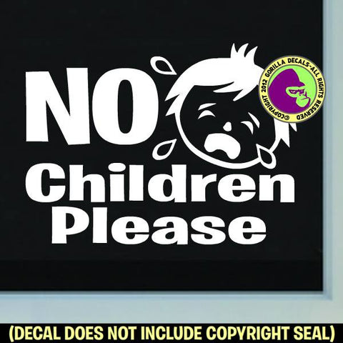 NO CHILDREN PLEASE Store Sign Vinyl Decal Sticker