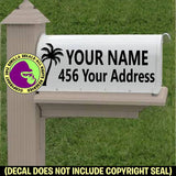 PALM TREE MAILBOX Set - ADD YOUR NAME & ADDRESS Vinyl Decal Sticker