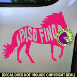 PASO FINO Words Inside Horse Vinyl Decal Sticker