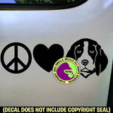 BEAGLE - Peace Love - Dog Vinyl Decal Sticker