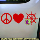 PEACE LOVE BOATING Boat Wheel Nautical Vinyl Decal Sticker
