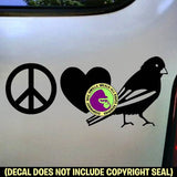 PEACE LOVE CANARY Bird Vinyl Decal Sticker